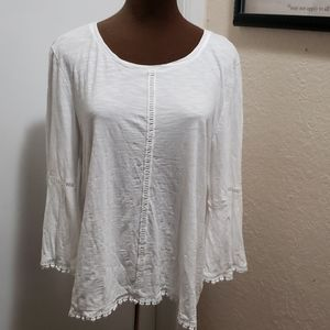 Style & Co  White Cotton Top Bell Sleeves
